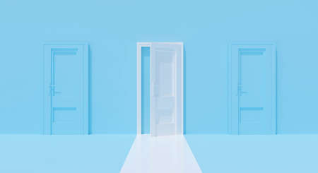 3d blue wall with white open door on pastel background abstract. Conceptual creative ideas minimal. Room 3d rendering for success business, alone concept. Inside home interior. Фото со стока