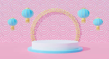 3d pink podium stage on pastel background abstract with hanging lanterns. Chinese Happy New Year.