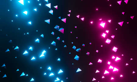Abstract polygonal background geometric triangle. Empty dark futuristic technology with pink and blue glowing neon light. 3d render for wallpaper and pattern design. Modern future concept.