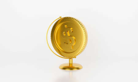 Antique globe money dollar gold coin isolated on white background abstract. 3d rendering for bank money, finance market, loan concept. Creative idea design. finance control.