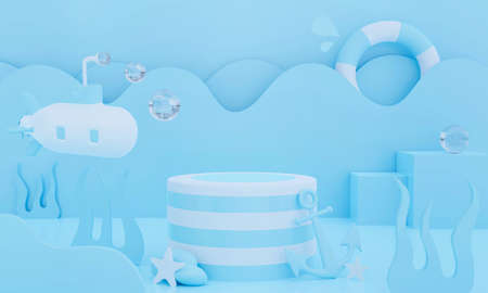 3d blue podium on pastel background abstract geometric shapes. 3d rendering for banner, stage, display product mockup design. Cosmetic creative ideas minimal summer water scene with wave and ball. Фото со стока