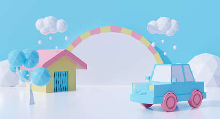 3d rendering of sweet cartoon house and car with blue snow winter background abstract. Creative ideas minimal design. Dream fantasy world. Фото со стока