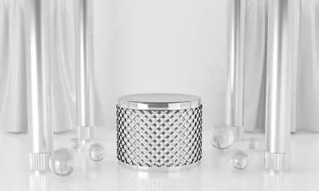 3d metal silver isolated on white background abstract in studio room with glass balls. 3d render for pedestal winner, display product and mockup design. Creative ideas minimal scene concept. 스톡 콘텐츠