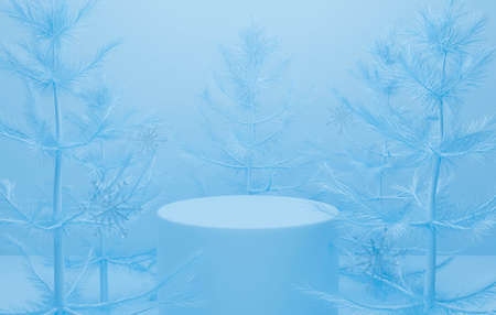 3d blue podium on pastel background abstract Christmas tree scene with snow. Creative ideas minimal with pine. 3d render for winter holiday greeting card, banner, display product mockup in studio.