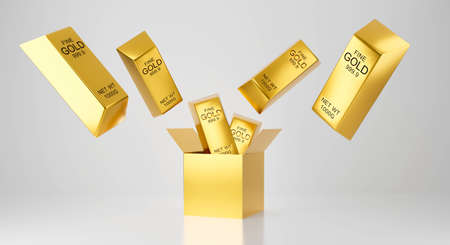 3d rendering for pecuniary profit, monetary and lottery winner concept. Surprise inside open box isolated on white background abstract with yellow metal gold bar.