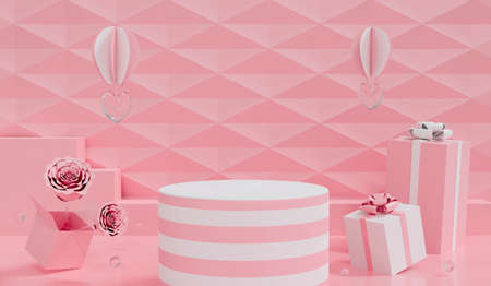 3d render of flower rose Valentine's day background scene with glass balls and gift box open flower rose. Abstract pink podium stand for Mother's greeting card design. Love heart concept. Creative ideas minimal.
