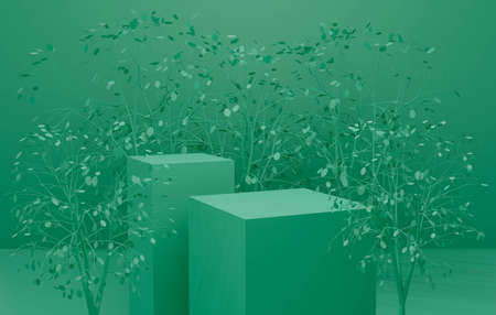 Green abstract background with geometric shape and plant leaf. 3d render for new pedestal, podium stage, display product mockup design. Creative ideas minimal summer in nature scene. 스톡 콘텐츠