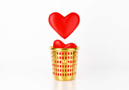3d red heart falling in garbage bin, trash can or gold basket. Conceptual with break up or broken heart. 3d render for valentines day. Fake love isolated on white background. Creative idea minimal.