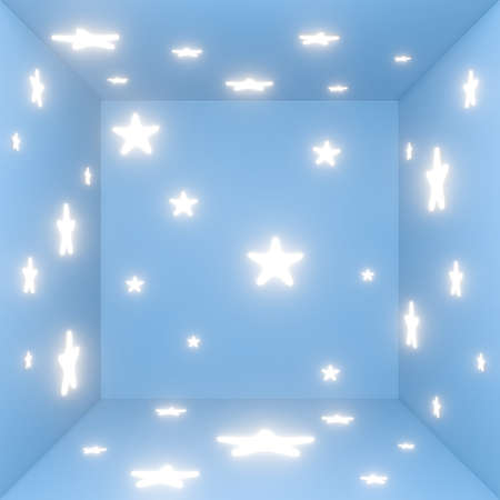 3d white star on pastel blue background texture pattern. 3d rendering design of cartoon kid in studio room scene. Creative ideas minimal.