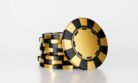 3D rendering of online casino chips stack isolated on white background abstract. Gamble concept.  Black and golden casino game.