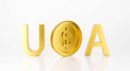 3d gold coins isolated on white background abstract with USA text. 3d rendering design for investment growth, business finance concept. with cash money American dollar sign golden. 스톡 콘텐츠