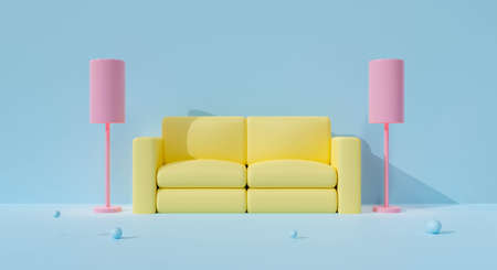 3D blue sofa interior on pastel background abstract with floor lamp in studio living room home. 3D rendering front view for furniture, mockup design. Creative ideas minimal armchair yellow or couch.