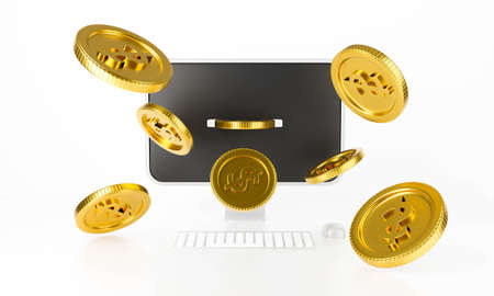 Money dollar gold coins explosion or splash with computer display and keyboard mouse. Surprise inside open desktop PC isolated on a white background abstract. 3d render of pay online bank design.