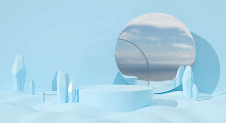 3d blue podium on pastel background abstract with mirror. Creative ideas minimal scene  in nature. 3d render for winter holiday greeting card, banner, pedestal, display product mockup.
