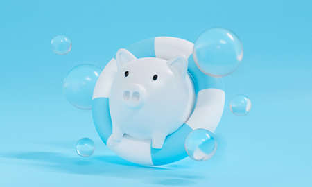 White piggy bank on pastel blue background abstract with pool ring or lifebuoy in water. 3d render for bankruptcy and saving money business concept. Pig with bubble.