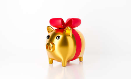 3d gold piggy bank isolated on white background abstract with red ribbon bow. 3d rendering for anniversary celebration, birthday, present box and budget concept. 스톡 콘텐츠