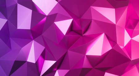 3d pink crystal pattern geometric. Polygon abstract triangle background with gradient. 3d render for backdrop, texture. Creative idea design.