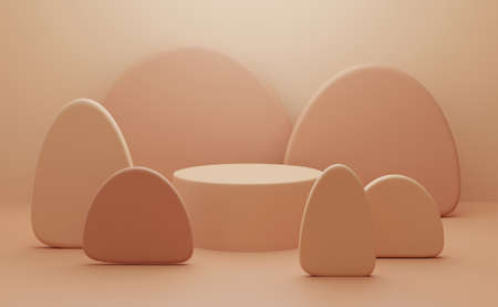 3d render of studio with display podium stand and mountain cartoon. Abstract beige background scene with geometric shape. Brown pedestal table for beauty product. Minimal design.