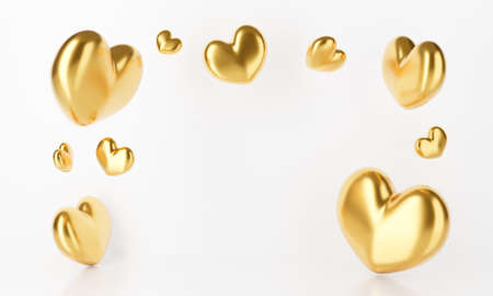 3D rendering of gold heart falling isolated on white background abstract. Birthday balloon party and love Valentines day concept. Creative idea. 스톡 콘텐츠
