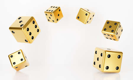 3D rendering of casino dice roll falling isolated on white background abstract. Bet, betting. Black and golden casino game. Luxury gamble concept. 스톡 콘텐츠
