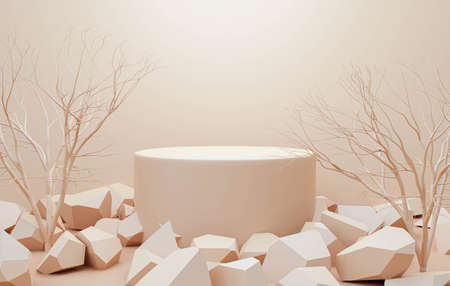 3d render of product display podium stand with stone rock. Abstract beige background scene with geometric shape. Brown pedestal table with autumn plants for beauty product. Minimal design.
