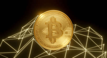 3d rendering of gold Bitcoin business isolated on black background abstract network connection. Bit Coin BTC. Blockchain technology concept. Cryptocurrency or crypto currency symbol. 스톡 콘텐츠