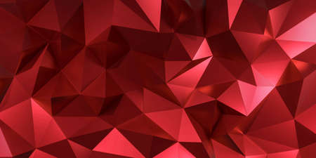 3d red crystal pattern geometric. Polygon abstract triangle background geometric pattern. 3d rendering for luxury backdrop, texture. Creative idea design.