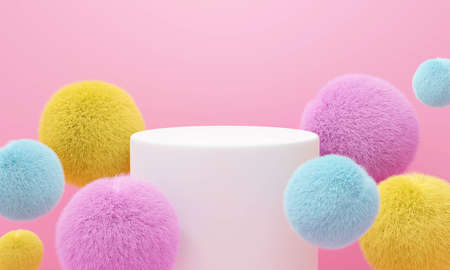 Abstract pink background geometric shape. 3D rendering of white stage podium pedestal with colorful fur ball for display product, banner or fashion. Minimal interior design.
