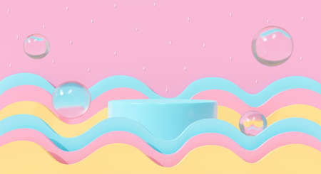 3d blue podium on pastel background abstract geometric shapes in studio scene. 3d rendering for pedestal, stage, product mockup design. Creative ideas minimal summer water with wave and bubbles soap. 스톡 콘텐츠