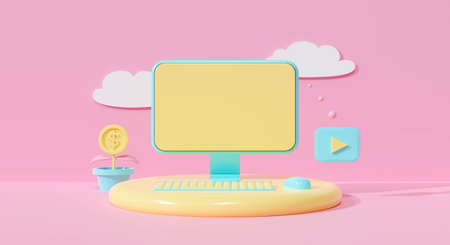 3d render of computer display on cute pastel background abstract. Desktop PC on pink color with keyboard mouse and cloud computing. Creative ideas minimal design. Electronic communication concept.