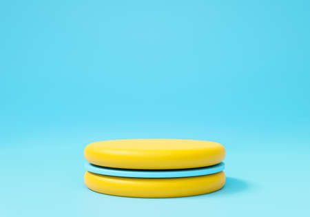Abstract blue background geometric shape for presentation. 3D rendering of stage podium pedestal for mock up, display product, showcase. Minimal studio with yellow stand, macaron cake. 스톡 콘텐츠