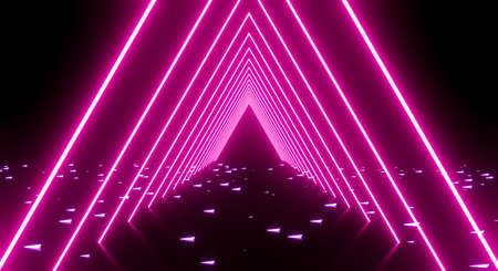 3D render of Shining pink neon triangle light effect with glowing lines, tunnel, laser show and dark corridor lighting. Modern futuristic abstract purple background texture.