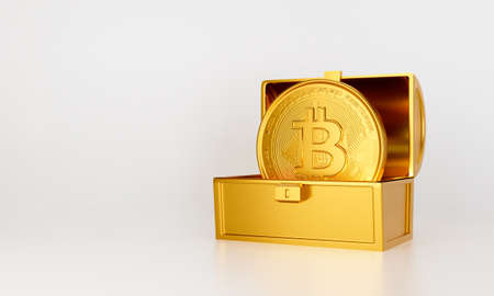 3d gold bank. 3d render for jackpot winner. Treasure chest with bit coin isolated on white background abstract. Surprise inside open money box with bitcoin. Cryptocurrency or crypto currency symbol. 스톡 콘텐츠