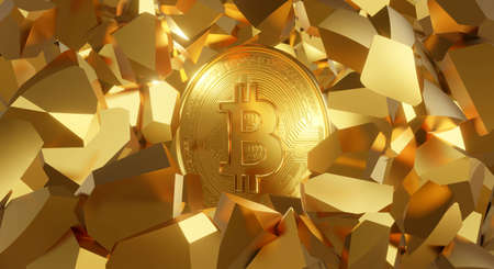 3d rendering of gold Bitcoin business on golden background abstract with rock stone crack. New digital money. Cryptocurrency or crypto currency symbol.  Bit Coin BTC. Blockchain technology concept.