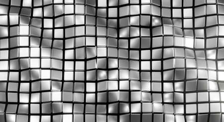 Abstract metal background texture pattern design. 3d rendering for web banner, backdrop, wallpaper. Modern gray square aluminum wall.