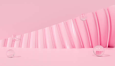 3d pink background abstract scene in curve studio room with round ball on pastel color. Creative minimal design. 3d render for blank backdrop, art banner. 스톡 콘텐츠