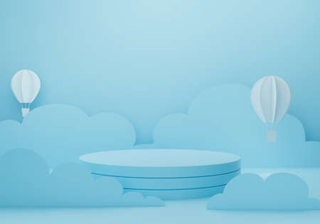 3d blue podium on pastel background abstract. 3d rendering for pedestal table, display product mockup design. Paper art of white balloon and clouds sky. Creative ideas minimal cute cartoon art.
