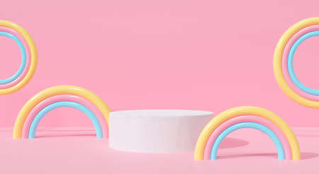 Abstract white podium on pink pastel background cute rainbow cartoon kid. Creative ideas minimal. Realistic 3d render for pedestal winner, banner, stage, display product mockup design.