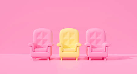 3d rendering illustration for of bright yellow sofa chair with bright one different on pink pastel background abstract in studio. different minimal armchair outstanding concept.