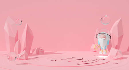 Abstract pink pastel background scene. Cute 3d rendering for pedestal winner, stage, display product mockup design. Game cartoon astronaut gnome search world in space. Creative ideas minimalism. Фото со стока