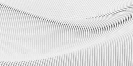 Abstract white background scene with waves lines. 3d rendering of building. Modern architecture interior design. Futuristic technology concept and minimal geometric shapes.