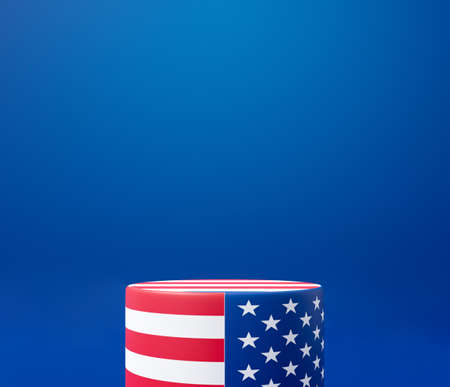 3d rendering illustration for 4th of July celebration unit, presidents day banner. America blank display podium stand on blue background scene abstract. US pedestal winner stage design.