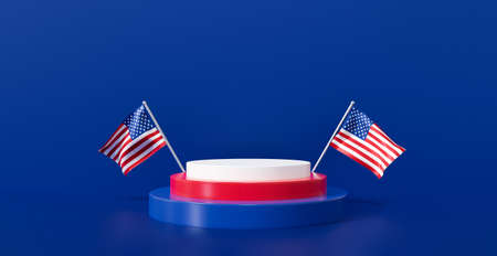 3d rendering illustration for 4th of July celebration unit, presidents day banner. American flag waving with blank display podium stand on blue background scene abstract. US pedestal winner. 스톡 콘텐츠