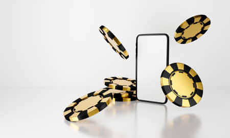 Winner casino chips falling isolated on white background abstract. Golden 3D rendering illustration for jackpot win success, luxury gamble concept. Blank phone mobile game money online design. 스톡 콘텐츠