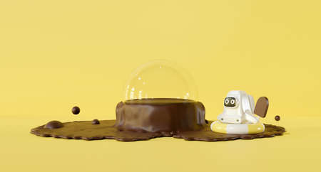 3d yellow stage on pastel background abstract. Summer 3d rendering for pedestal winner, product mockup design. Creative ideas minimal. Spaceman cartoon astronaut kid with chocolate cocoa splash. 스톡 콘텐츠