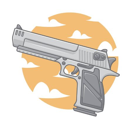 Hand gun with clouds and sky illustration Иллюстрация