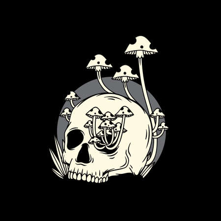 Human skull overgrown with mushrooms illustration. white and grey combination on black background