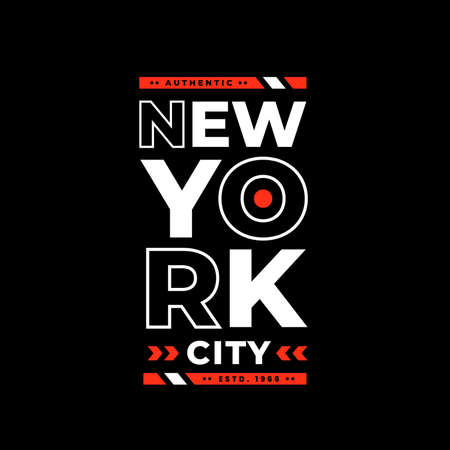 New york city typography. white and red combination on black background