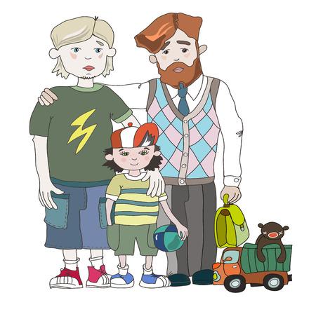 fatherhood: gay family Illustration