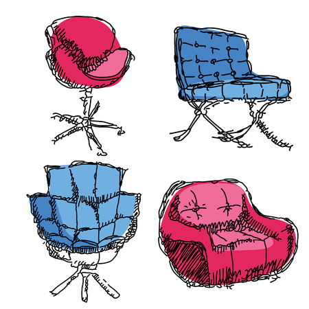 armchairs: Contemporary furniture doodles armchairs in red and blue.